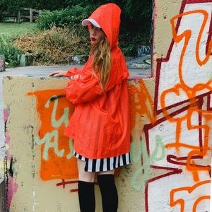Jackets & Blazers - Neon orange rain coat vinyl